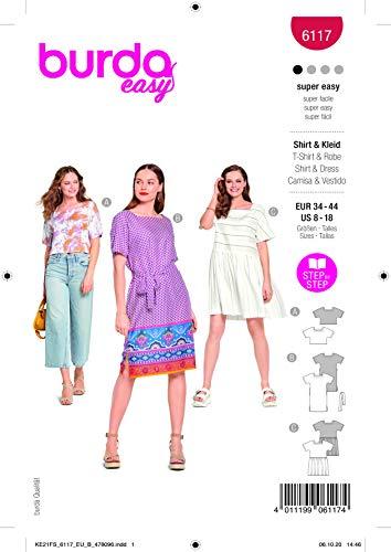 Burda 6117 Schnittmuster Shirt und Kleid (Damen, Gr. 34-44) Level 1 super Easy