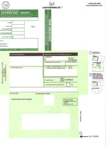 Postageink.com Brand certified mail Form LCD811 (100 Forms)