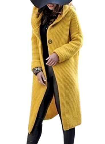 CORAFRITZ Damen Winterjacke, lang, vorne offen, lange Ärmel, mit Kapuze, Knöpfen, einfarbig, Oberbekleidung Gr. 48, gelb