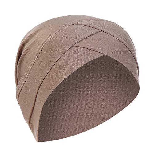 Lazzboy Kopftuch Chemo Cancer Mütze Seide Gefütterte Ethnic Cloth Turban Cap Für Frauen Solid India Hut Muslim Ruffle Beanie Wickelschal(Khaki)