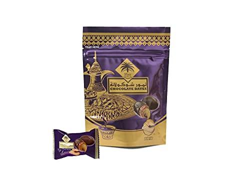Siafa Dattes Farcies con loto de galletas recubiertas de chocolate con leche de 100 g. Las fechas están cuidadosamente empaquetadas en una bolsa hermética para Dattes 100% vegetariano.