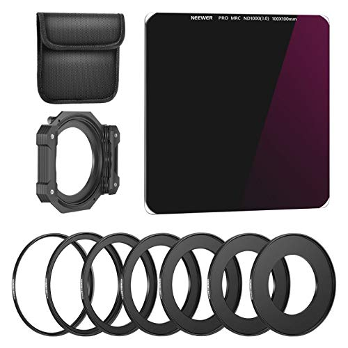 Neewer 100x100mm ND1000 Square Filter with 1 Filter Holder&7 Filter Ring Adapters Compatible with 52mm to 82mm Canon Nikon Camera Lens, Neutral Density 10 Stop/Optical Glass/Metallic Aluminum Adapter
