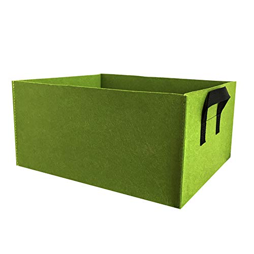 æ— Plant Growing Bag Ronde Vilt Planting Bag Tuin Grow Bag Ademende Plant Container Tuinbed Planter Box Pot Pouch with Handles 60x30x20cm/23.6x11.8x7.9inch Groen