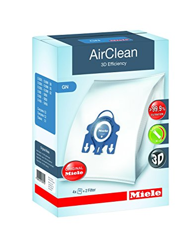 Miele 10123210 AirClean 3D Efficiency Dust Bag, Type GN, 4 Bags & 2...