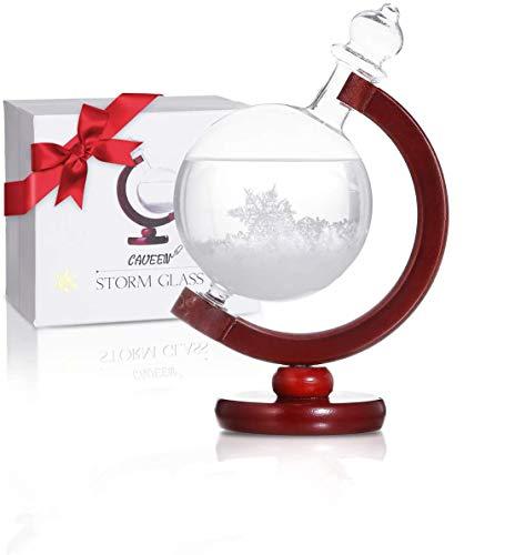 CAVEEN Sturmglas zur Wettervorhersage, Sturm Globe Wetterglas Storm Glass Desktop Dekoration Kristall kreative Wetterstation Temperatur Prognose, Geschenk für Geburtstag Weihnachten Holz Sockel