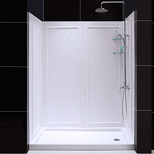 DreamLine 30 in. D x 60 in. W x 76 3/4 in. H Right Drain Acrylic Shower Base and QWALL-5 Backwall Kit In White, DL-6189R-01