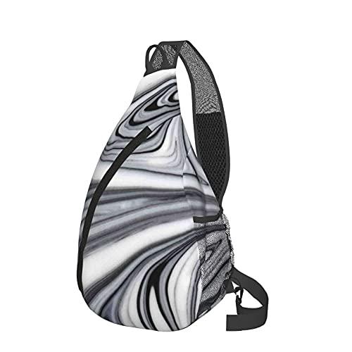 Sling Rucksack Reise Wandern Daypack 3D Grafik gedruckt Crossbody Umhängetasche, Blau - Abstraktes Weiß und Schwarz Liquid Marble Black - Größe: Einheitsgröße