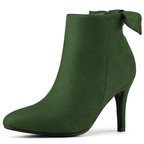 Allegra K Women's Pointed Toe Stiletto Heel Green Ankle Boots - 9 M US