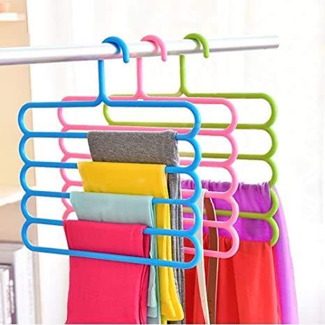 Platinum Mart - Colgador de plástico de 5 capas para armario, armario, organizador de ropa, organizador de armario, ahorro de espacio,...