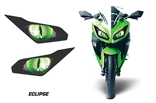AMR Racing Sport Bike Headlight Eye Graphics Decal Cover Compatible with Kawasaki Ninja 300 2012-2014 - Eclipse Green