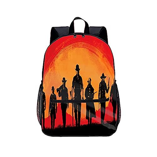 Sac à dos imprimé 3D résistant à l'eau, durable, décontracté, basique pour étudiants, Red Dead Redemption 2, le meilleur choix pour les voyages. Dimensions : 45 x 30 x 15 cm