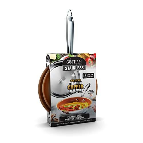 GOTHAM STEEL Fry Pan Set, Large, Brown