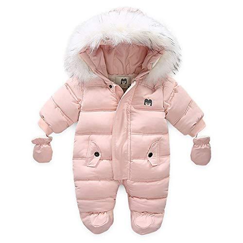 AIKSSOO Schneeanzug für Neugeborene mit Kapuze, Fleece, mit Fuß, für den Winter Gr. 3-6 Monate, rose