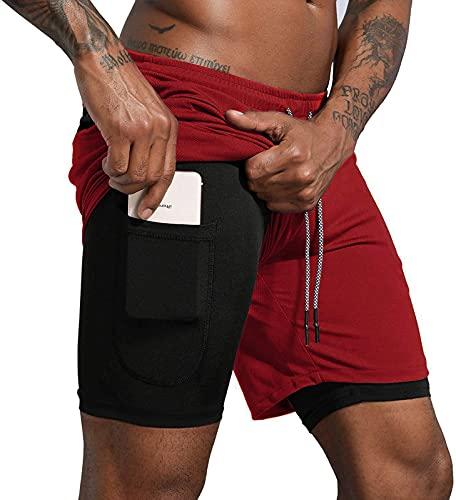 Danfiki Pantalones Cortos Hombre Running Transpirable Shorts Deportivos Secado Rápido Pantalón Correr Ligero con Bolsillo con Cremallera