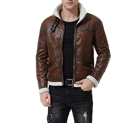 AOWOFS Men's Faux Leather Jacket Brown Motorcycle Bomber Shearling Suede Stand Collar (Large)