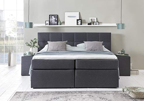 Furniture for Friends Bea Boxspringbed, inclusief visco-topper, 7-zone pocketveringmatras, hotelbed, tweepersoonsbed 140x200cm antraciet H3