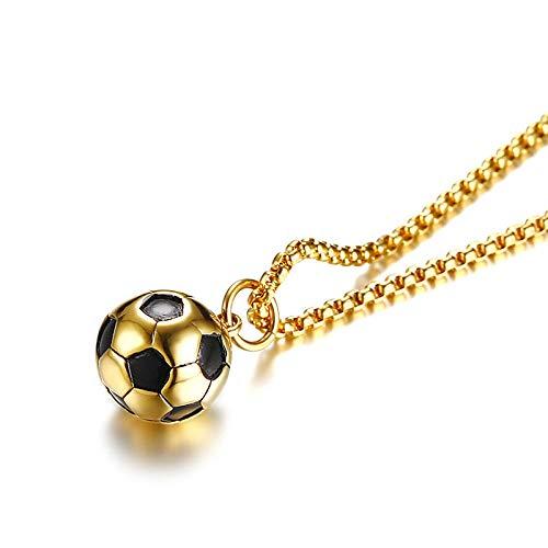 rmdfz Collar de Tarro de cremaciónColgante de fútbol Deportivo para Hombres Collar Campeón de fútbol de Acero Inoxidable Accesorios de joyería Masculina 24 \