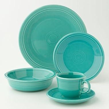 Fiesta Dinnerware 20 Piece Dining Set - Turquoise Blue - 855107