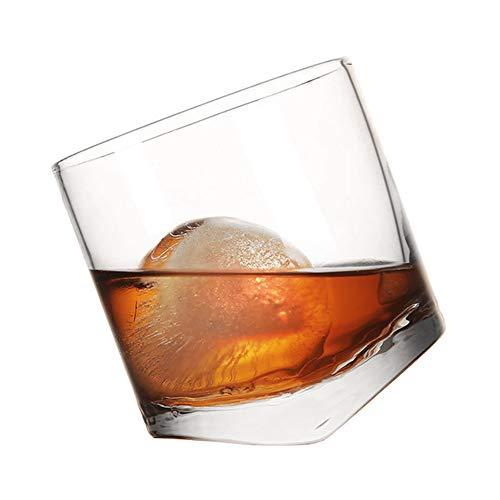 Vasos De Whisky con Ruedas - Vasos De Whisky Sin Tallo Soplados A Mano Que Ruedan para Una Mejor Aireación Variedad De Licores, Maltas, Highballs Y Cócteles - 10 Onzas