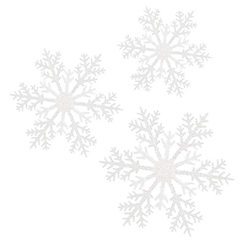 VOSAREA 3PCS Christmas Snowflake Ornaments White Iridescent Glitter Snowflake Ornaments On String Hanger for Decorating Crafting