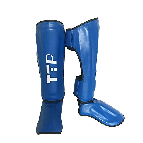Boxing Training & MMA Fighting Approved by SMMAF Maya Hide Leather Muay Thai Instep Leg Protective Gear Great Protector Pads for Martial Arts, Sparring, Kickboxing, BJJ, Karate (Blue, M)