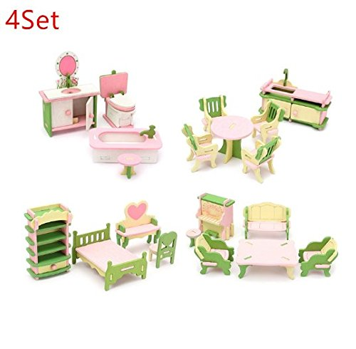 URToys 4Set Mini Cute Wooden Delicate Dollhouse Furniture Toys Miniature For Kids Children Funny Pretend Play Toys Role Playing Toy With Box