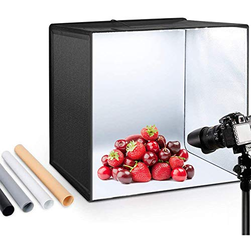 Photo Studio Light Box 50cm Brillo Ajustable Portátil Plegable Gancho y Loop...