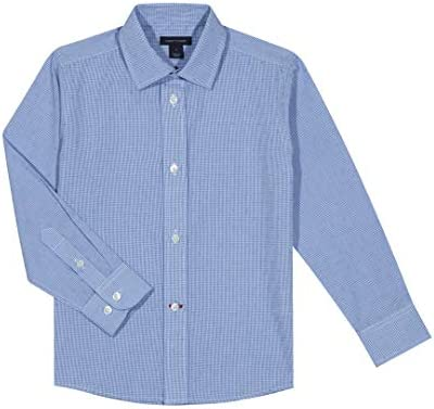 Tommy Hilfiger Big Boys Long Sleeve Cross Gingham Dress Shirt Medium Blue 14 product image