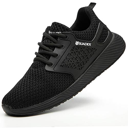 SUADEX Steel Toe Work Shoes Mens Womens, Steel Toe Sneakers Indestructible Comfortable Casual Lightweight Slip on Construction Shoes Black 11.5-12 Women 10-10.5 Men