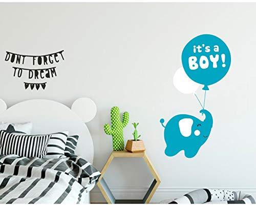 Autocollant mural éléphant volant sur ballon en vinyle pour chambre d'enfant garçon Inscription It's a boy