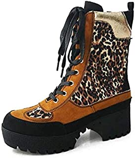 BAMBOO Women Combat Ankle Booties, High Block Heel, Faux Fur Lining, Lace Up Powerful (7.5, Leopard)