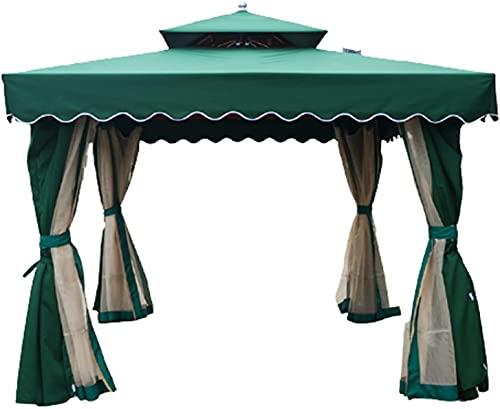 Mifty marquesinas y toldos Courtyard Pavilion Roof Garden Pavilion Pabellón Pabellón Pabellón al Aire Libre a Prueba de Viento y pabellón a Prueba de Lluvias (Color : Green, Size : 3 * 3M)