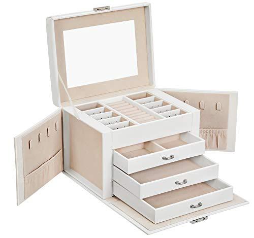 SONGMICS Jewelry Box, Jewelry Organizer 4 Levels, Lockable Jewelry Storage Case with Trays, Velvet Lining, White UJBC159W01