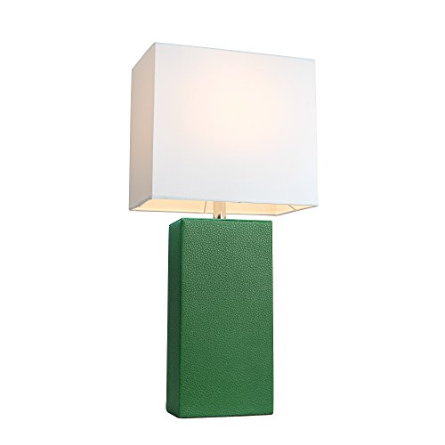 Elegant Designs LT1025-GRN Modern Leather White Fabric Shade Table Lamp, Green