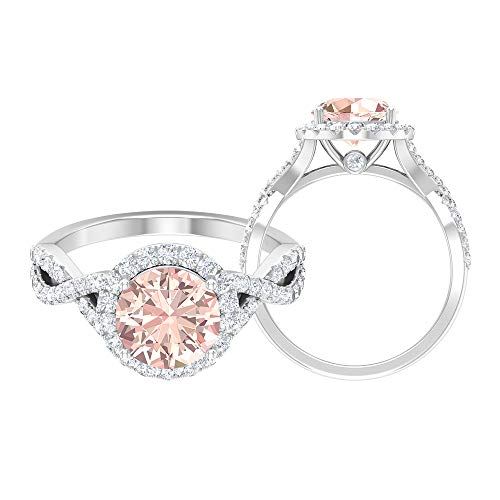 Anillo solitario de halo, piedras preciosas redondas de 2,91 quilates, anillo de compromiso de Morganita creado en laboratorio de 8 mm, anillo de vástago espiral, 14K Oro blanco, Size:EU 61