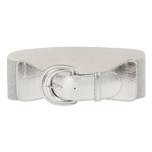 Women PU Leather Elastic Silver Belt Vintage Silver Stretch Belt(XL,Silver)