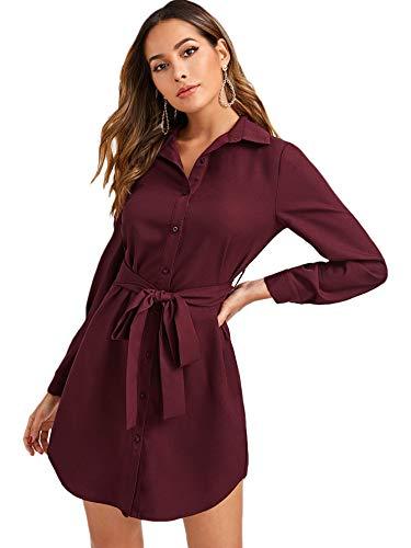 DIDK Damen Hemdkleid Elegant Blusenkleid V-Ausschnitt Langarm Herbst Tunika Kleider mit Gürtel Einfarbig Freizeitkleid Knöpfen Hemdenkleid Shortkleid Bordeaux M