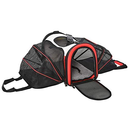 Pawhut 2-Side Expandable Pet Carrier Soft Cat Dog Carrier Foldable Travel Bag with Zippered Doors Mesh Windows 41 x 24 x 29 cm