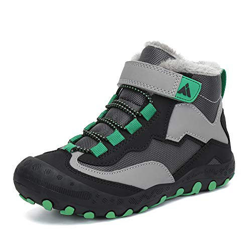 Mishansha Boy's Girl's Water Resistant Hiking Boot Children High Top Ankle Shoes Trail Running Sneakers Olive Black Size US 12.5 Little Kid