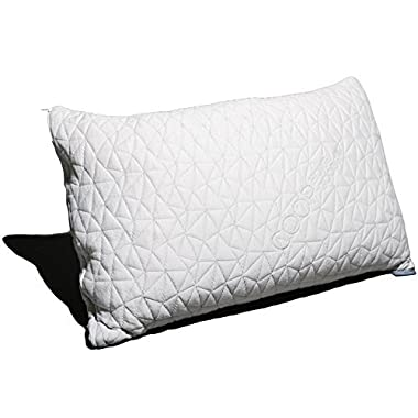 Coop Home Goods PREMIUM Adjustable Loft - Shredded Hypoallergenic Certipur Memory Foam Pillow with washable removable cooling bamboo derived rayon cover - Standard