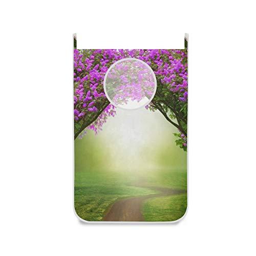 XiangHeFu wasmand van stof voor slaapkamer, fantasie met bloemen, wasmand om aan de deur op te hangen