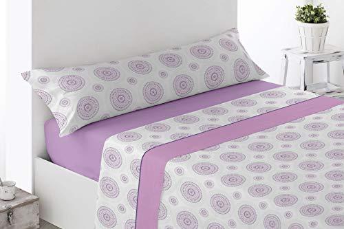 Juego de sábanas Estampadas de Microfibra Transpirable Mod. Laron (Disponible en Varios tamaños y Colores) (Malva, Cama de 90 cm (90_x_190/200 cm))