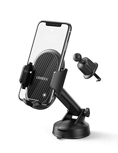 UGREEN Support Téléphone Voiture Ventouse 3 en 1 Porte Portable Voiture Ventilation pour Grille Aération Pare Brise Tableau de Bord Compatible avec iPhone 12 Pro Max Se 11 8 7 6, GPS