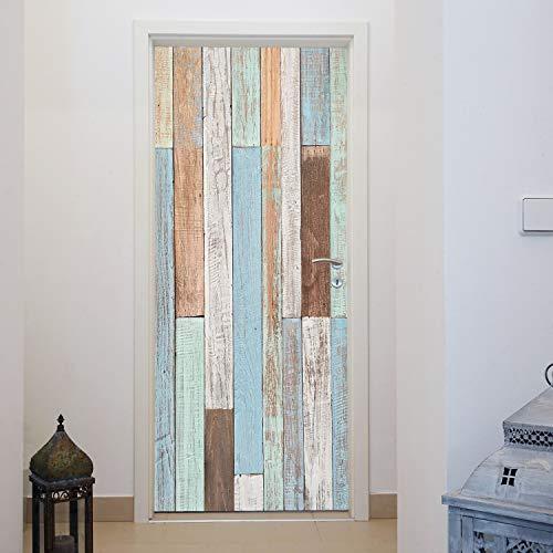 Murimage deurbehang houtlook Maritiem 86 x 200 cm inclusief behanglijm pastel vintage shabby chic middenzee fotobehang