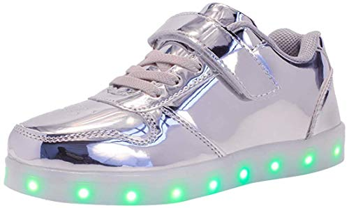 Unisex Bambini LED Light-up Scarpe,7 Colori USB Carica Lampeggiante Luminosi Running Sneakers,Bambino Velcro da Skateboard Sneakers,Ragazze e Ragazzi Light Up Fashion Party Street Dance Sneakers