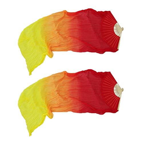 P Prettyia Tanzfächer Bauchtanz Tanz Fächer Schleier Fächerschleier Schleierfächer Tanzbekleidung & Accessories 180 cm - Rot + Gelb, M