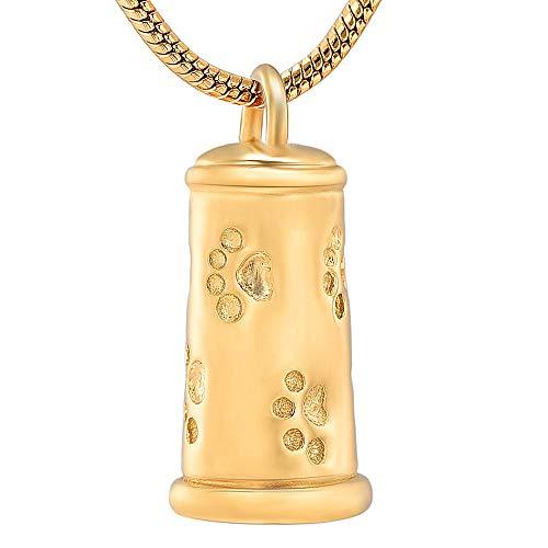 KXBY Ashes Urn Crematie As Hanger Pet Paw Print Cilinder Crematie Sieraden Voor As Hanger RVS Urns Hond Kat Memorial Ketting Voor Mannen Vrouwen-Goud