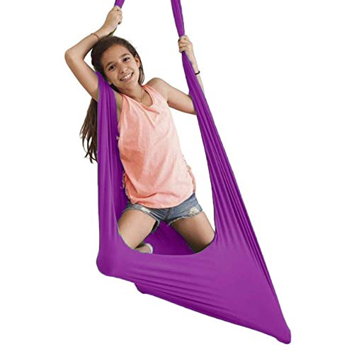 AGGF Terapia de Swing sensorial Swing Cuddle Hammock Juego de Columpio uggle para Interiores, Capacidad de Carga de 400 Libras (Color: Morado, Tamaño: 150x280cm / 59x110in)