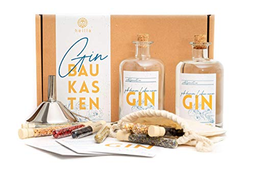 Heilla Gin Baukasten, die Geschenkidee zu Weihnachten! Gin-Set Selbermachen | 11 hochwertige Botanicals | Geschenkset inkl. Basis-Alkohol 40% (0.5 l) für Männer und Frauen mit Rezepten