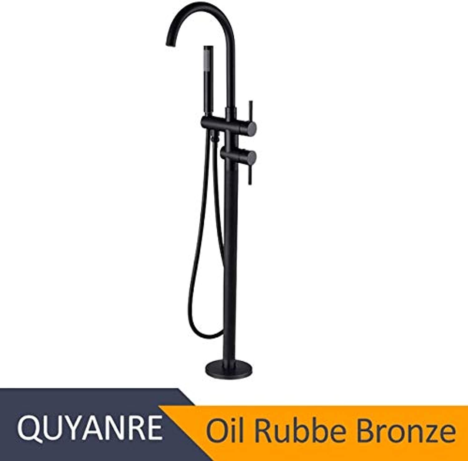 U-Enjoy Chandelier Bathtub Floor Black Stand Mixer Top Quality Single Faucet Handle Mixer Tap redation Spout with 360 Abs Handshower Bath Mixer Shower Free Shipping [Oil Rubber Bronze]